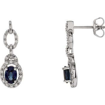 Emerald Lady Jewelry Genuine Blue Sapphire and Diamond Earrings - #ELI65762SS -