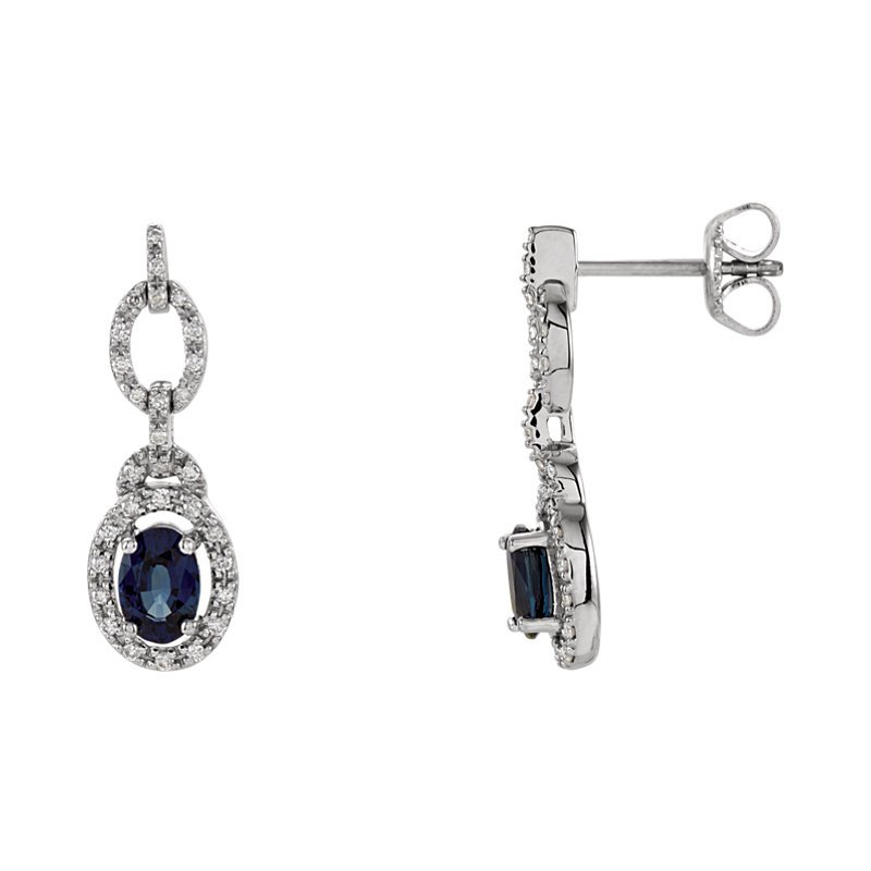 Signature Collection Emerald Lady Jewelry Genuine Blue Sapphire and Diamond Earrings - #ELI65762SS -