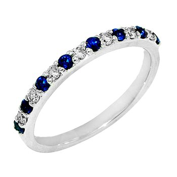 14k White Gold Sapphire and Diamond Anniversary Band