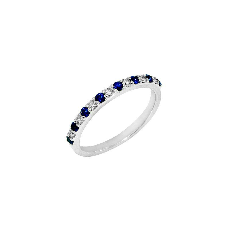 Signature Collection 14k White Gold Sapphire and Diamond Anniversary Band