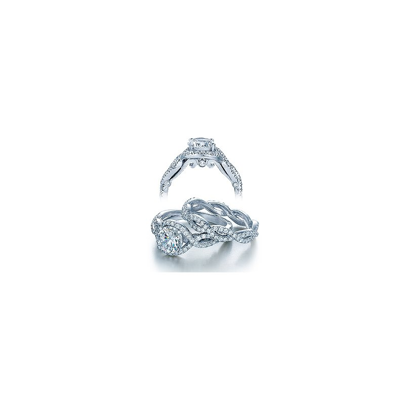 Verragio Verragio Insignia 7040-PLT - Platinum Halo Diamond Twist Band Engagement Ring by Verragio