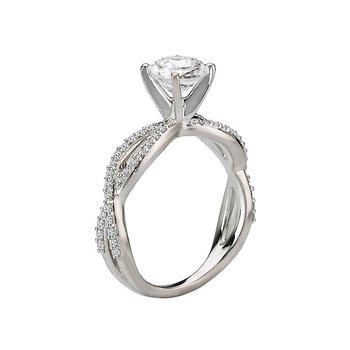 14k White Gold Twist Band Diamond Engagement Ring