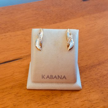 Kabana 14k Yellow Gold Stud Earrings with White Mother of Pearl and Diamonds