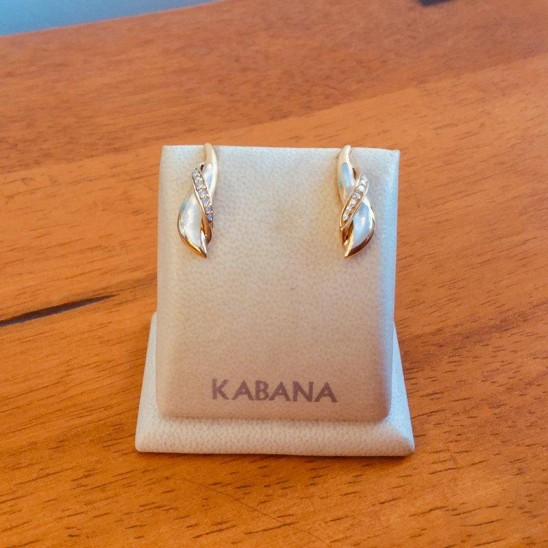 Kabana Jewelry Kabana 14k Yellow Gold Stud Earrings with White Mother of Pearl and Diamonds
