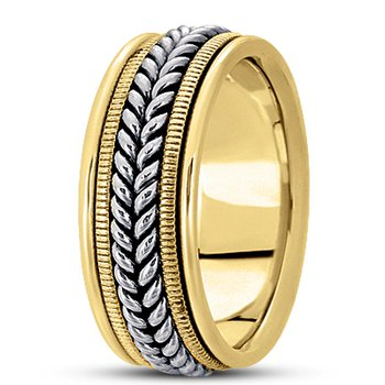 Unique Settings HM112 - Y - W - 14k Yellow and White Gold Handmade Handwoven 9mm Men's Wedding Band