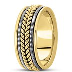 Unique Settings Unique Settings HM112 - Y - W - 14k Yellow and White Gold Handmade Handwoven 9mm Men's Wedding Band