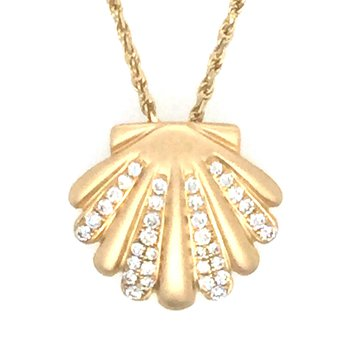 14k Yellow Gold Diamond Scallop Shell Pendant