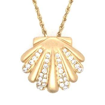 14k Yellow Gold Diamond Scallop Shell Pendant