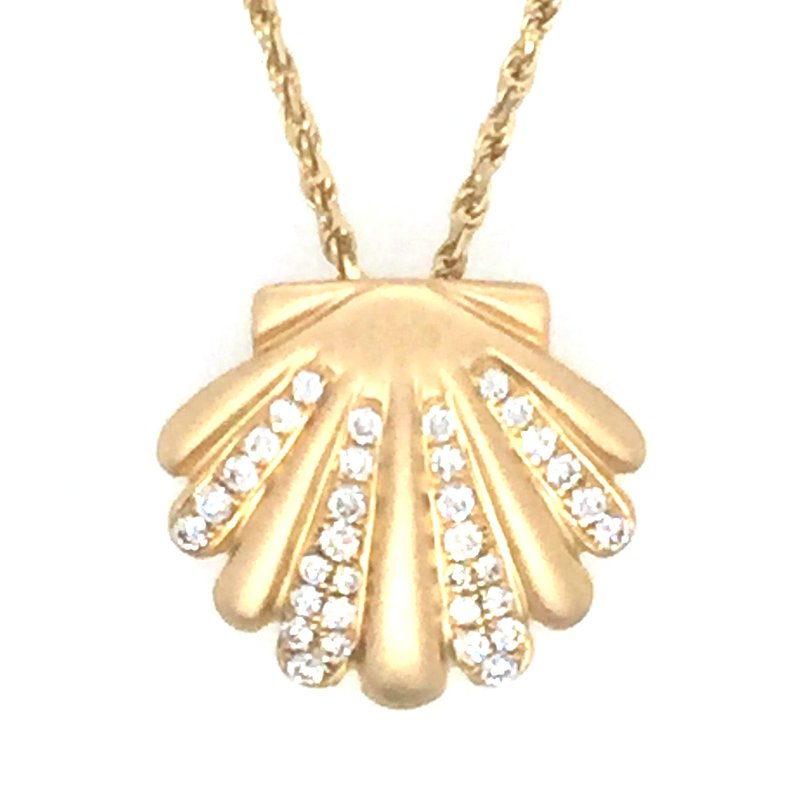 Sealife Jewelry 14k Yellow Gold Diamond Scallop Shell Pendant