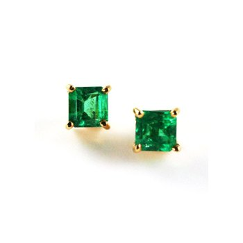 Genuine Colombian Emerald Earrings in 18k Yellow Gold - 3470