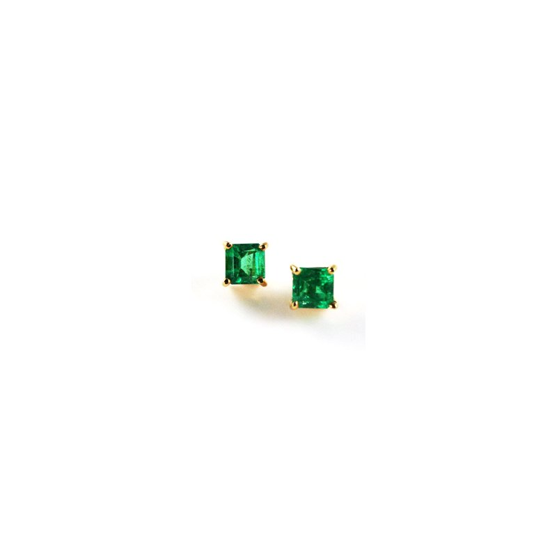 Signature Collection Genuine Colombian Emerald Earrings in 18k Yellow Gold - 3470