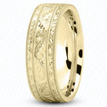 Unique Settings M475 - 14k White Gold Fancy Carved Hand Engraved 7mm Men's Wedding Band