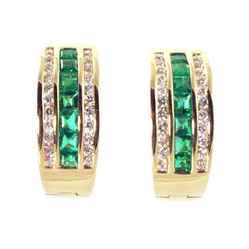 18k Yellow Gold Genuine Emerald and Diamond Hoop Earrings - #33728