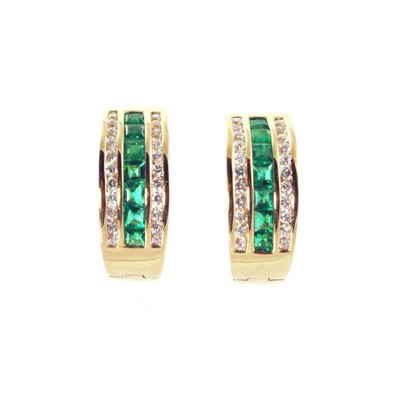 Signature Collection 18k Yellow Gold Genuine Emerald and Diamond Hoop Earrings - #33728