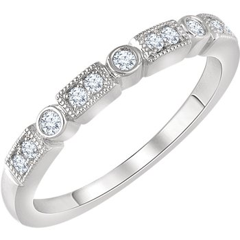 14k White Gold Rectangle and Circle Diamond Stack Ring