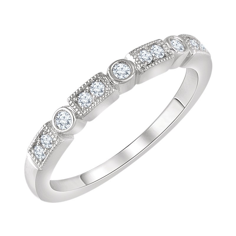 Signature Collection 14k White Gold Rectangle and Circle Diamond Stack Ring