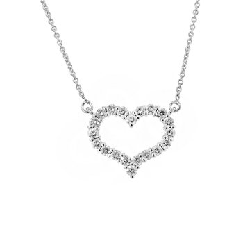 14k White Gold Diamond Heart Necklace - #37839