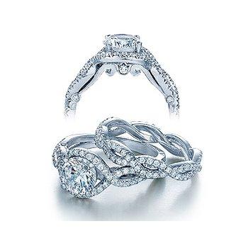 Verragio Insignia-7040 - 14k White Gold Halo Diamond Twist Band Engagement Ring by Verragio