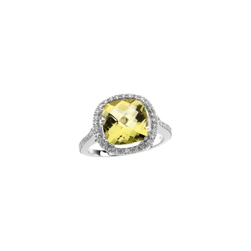 Signature Collection Genuine Lemon Quartz & Diamond Ring