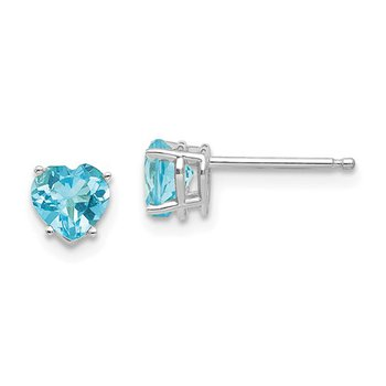 14k White Gold 5mm Heart Blue Topaz Stud Earrings