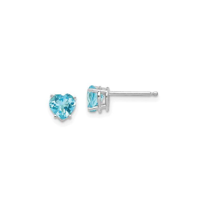 Signature Collection 14k White Gold 5mm Heart Blue Topaz Stud Earrings