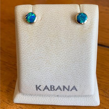 Kabana 14k Yellow Gold Round Stud Earrings with 5 Star Solid Australian Opal Inlay