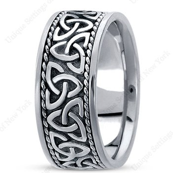 Unique Settings HM209 - W - Y - 14k White and Yellow Gold Handmade Celtic Design 10mm Men's Wedding Band