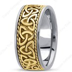 Unique Settings Unique Settings HM209 - W - Y - 14k White and Yellow Gold Handmade Celtic Design 10mm Men's Wedding Band