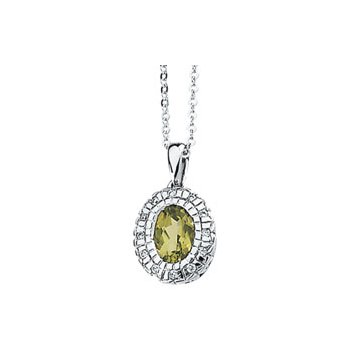 Genuine Peridot & Diamond Necklace