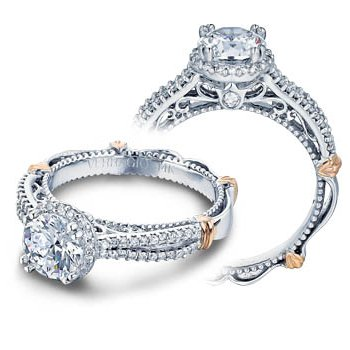 Verragio Parisian-110R - 14k White and Rose Gold Diamond Halo Engagement Ring by Verragio