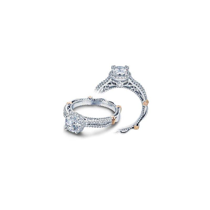 Verragio Verragio Parisian-110R - 14k White and Rose Gold Diamond Halo Engagement Ring by Verragio