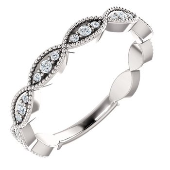 14k White Gold Infinity Inspired Diamond Wedding Ring from our Stackable Collections