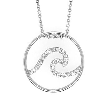 14k White Gold Destin Diamond Wave Pendant