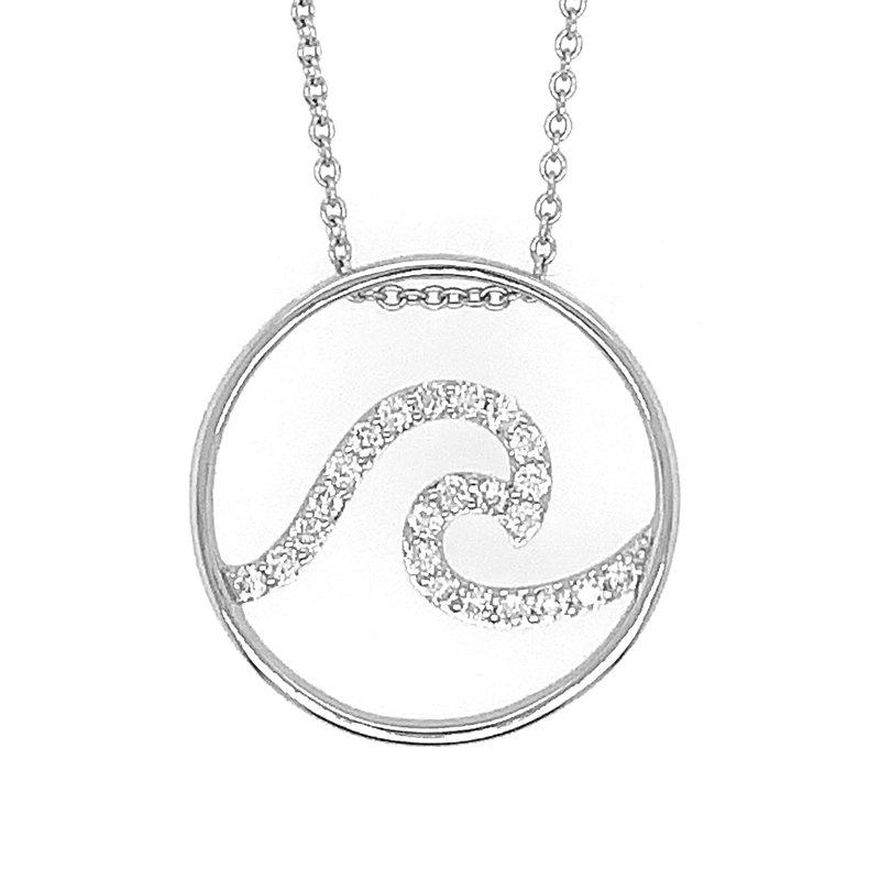 Sealife Jewelry 14k White Gold Destin Diamond Wave Pendant