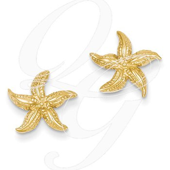 Quality Collection Sealife 14k Yellow Gold Textured Starfish Earrings