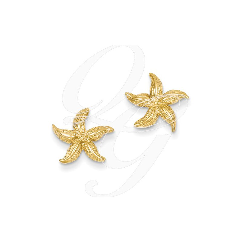 Sealife Jewelry Quality Collection Sealife 14k Yellow Gold Textured Starfish Earrings