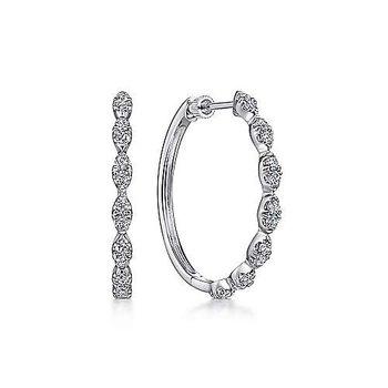 14k White Gold 30mm Diamond Hoop Earrings by Gabriel NY