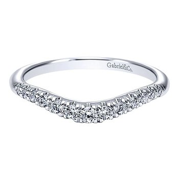 Gabriel NY 14k White Gold Curved Anniversary Ring - Style #AN10963W44JJ
