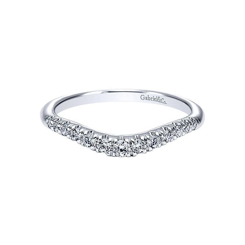 Gabriel NY Gabriel NY 14k White Gold Curved Anniversary Ring - Style #AN10963W44JJ