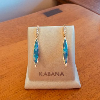 Kabana Australian Opal Inlay & Diamond Earrings