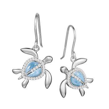 Sterling Silver Honu Turtle Earrings with Larimar