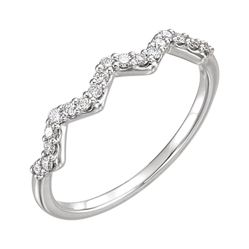 Signature Collection 14k Yellow Gold Diamond Stackable Zig Zag Ring