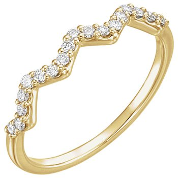 14k Yellow Gold Diamond Stackable Zig Zag Ring