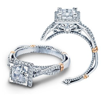 Verragio Parisian D-106P - 14k White and Rose Gold Diamond Princess Cut Halo Engagement Ring by Verragio