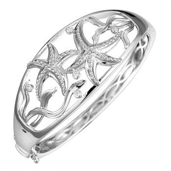 Sterling Silver Starfish Hinged Bangle Bracelet