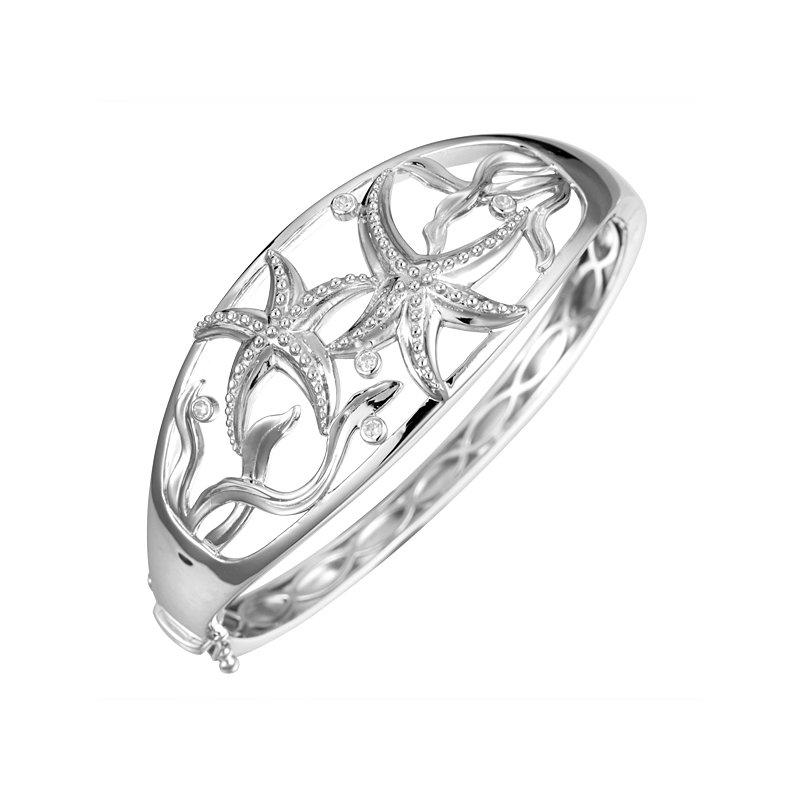 Alamea Larimar  Sterling Silver Starfish Hinged Bangle Bracelet