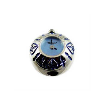 Sterling Silver Bead Watch with Blue Enamel Hearts and Blue Mother of Pearl