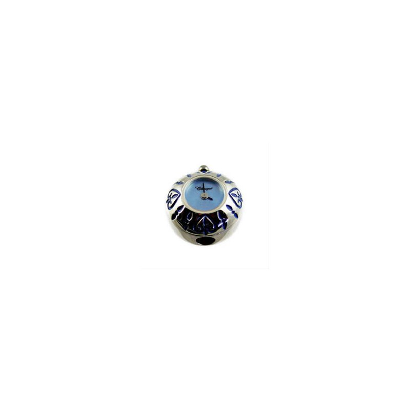 Swiss Watches Sterling Silver Bead Watch with Blue Enamel Hearts and Blue Mother of Pearl
