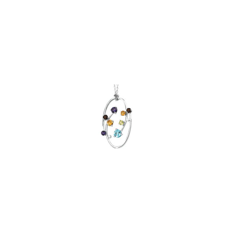 Signature Collection Genuine Multi Gem-stone & Diamond Necklace