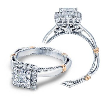 Verragio Parisian-112P - 14k White and Rose Gold Diamond Halo Engagement Ring by Verragio